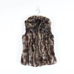 Rachel Zoe Brown Faux Fur Vest Pockets Size XS